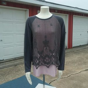 Democracy Top SZ L Grey and Pink with Lace overlay